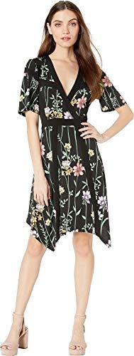 (BCBGMAXAZRIA Women's Floral V-Neck Printed Matte Jersey Dress Botanical Floral Garden/Midnight)