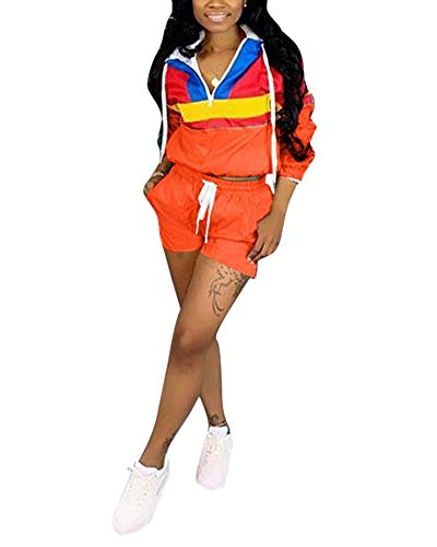 Women's 2 Piece Outfits - Color Block Pullover Hoodie Long Sleeve Windbreaker Tops + Shorts Set Tracksuit Rompers Orange Large