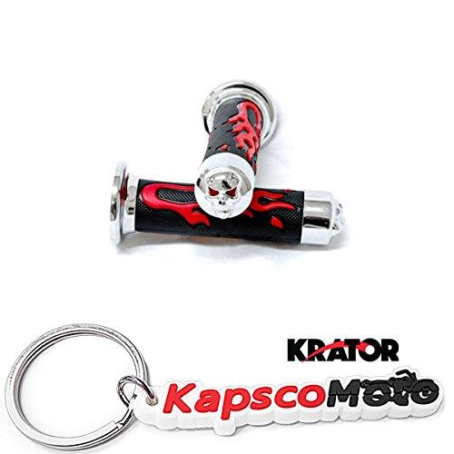 Krator ATVs and WATERCRAFTS Flame Gel Style Hand Grips with Skull RED COLOR QUAD YAMAHA POLARIS SEADOO BOMBARDIER JET SKI Kawasaki Brute Force Prairie BRUIN GRIZZLY KODIAK + KapscoMoto Keychain