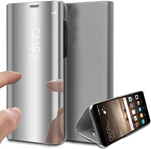 Suhctup Funda Reemplazo para Samsung Galaxy C9 Pro Cubierta Flip Tapa Libro Carcasa Modelo Fecha Espejo Brillante tirón del Duro Case Espejo Soporte Plegable Reflectante Mirror(Plata): Amazon.es: Electrónica