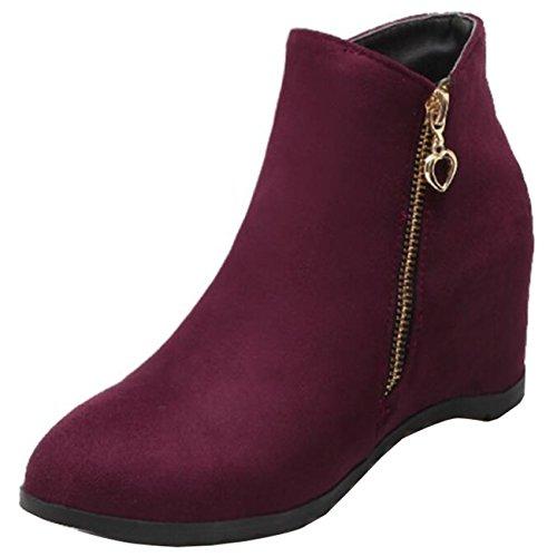Mashiaoyi Women's Inner-increaser Flat Zip Suede Chukka Boots Burgundy YJkPEq
