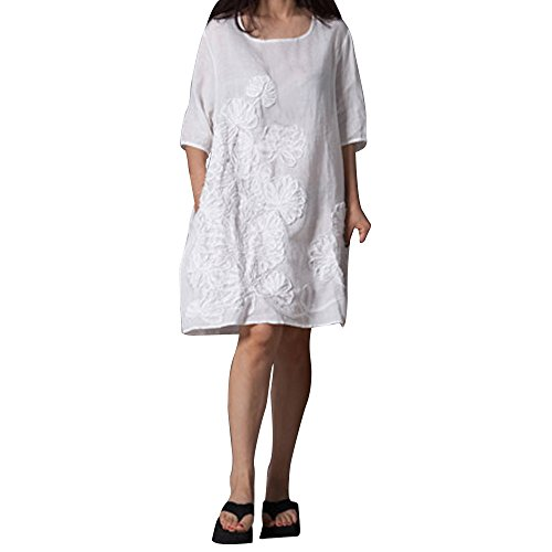 Women's Dress Clearance Sale,Farjing Women Half Sleeve O Neck Floral Patchwork Cotton Linen Loose Bohe Casual Dress(2XL,White) by Farjing