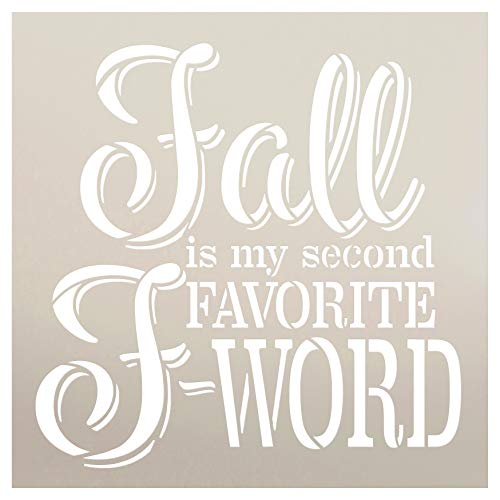 (Fall is My Second Favorite F-Word Italic Font Stencil by StudioR12 | Wood Signs | Word Art Reusable | Family Dining Room | Painting Chalk Mixed Media Multi-Media | DIY Home - Choose Size (18
