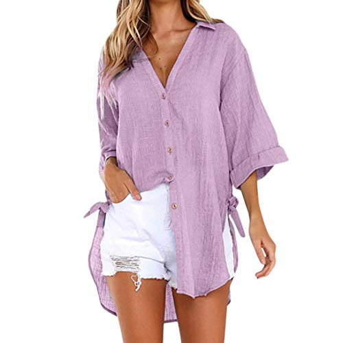 (iQKA Women Loose Button Long Sleeve Shirt Dress Cotton Linen Blouse Casual Solid Top (M, Purple))