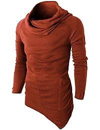 Mens Fashion Turtleneck Slim Fit Pullover Sweater Oblique Line Bottom Edge