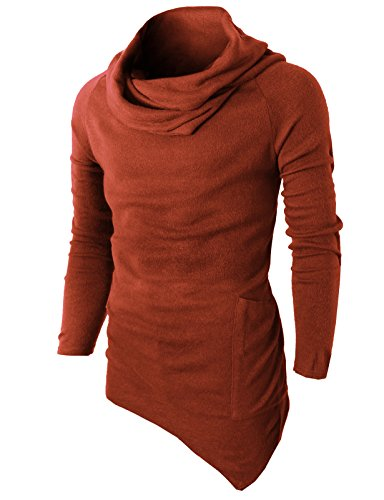 (H2H Men's Casual Long Sleeve O Neck Solid Loose Pleated Pullover T-Shirt DARKORAGNE US S/Asia M (KMTTL046) DarkOrange)