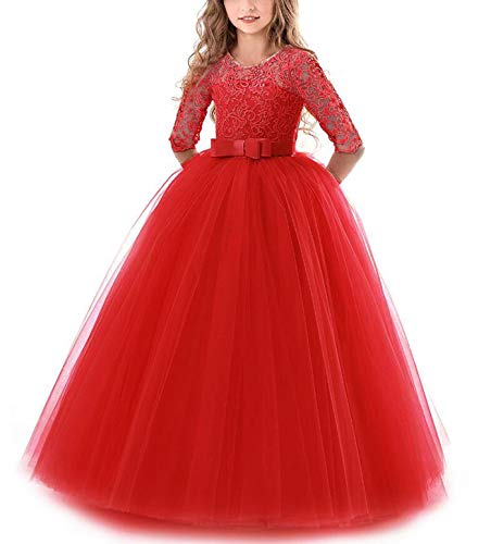NNJXD Girls Pageant Embroidery Ball Gown Princess Wedding Dress Size (160) 11-12 Years -