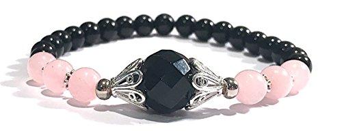 Handmade Black Onyx, Rose Quartz and Black Tourmaline and Healing Bracelet (Quartz Rose Bracelets Beaded)