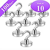 Neosmuk Magnetic Hooks,100lbs+ Neodymium Rare Earth Magnet Hook with 3 Layers Ni Strong Corrosion Protection,Ideal for Indoor Hanging