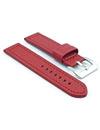 StrapsCo Red Thick Carbon Fiber Style Watch Band size 24mm