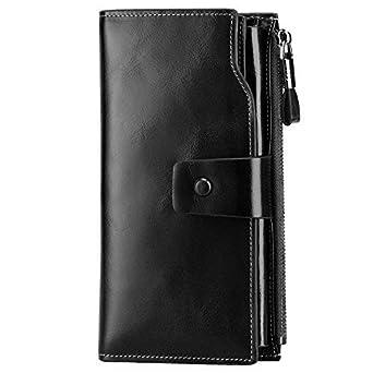 e12ffae76845 S-ZONE Women's RFID Noble Blocking Elegant Wallet Large Capacity Luxury Wax Genuine  Leather Wallet