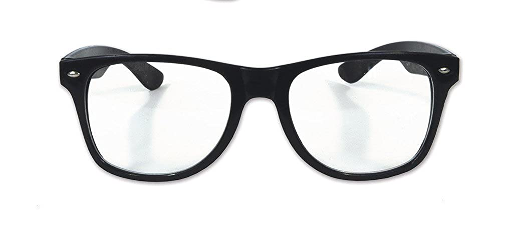 Faerynicethings Clear Lens Nerd Horn Rimmed Glasses - Costume Accessory PD60051