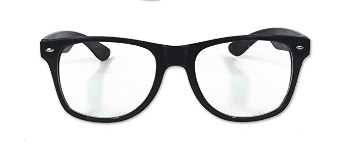 ace372ef8a Amazon.com  Clear Lens Nerd Horn Rimmed Glasses - Costume Accessory   Clothing