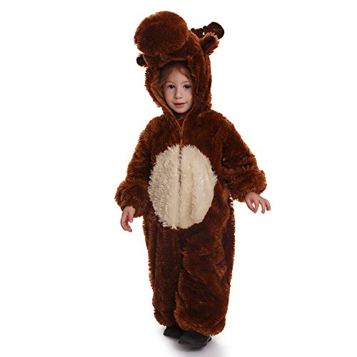 Dress Up America Reindeer Toddler Costume Kids Reindeer Jumpsuit (Furry Toddler Reindeer Costumes)