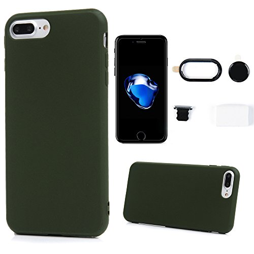 iPhone 8 Plus Case, iPhone 7 Plus Case - Candy Color Protective Cover Bumper Slim Fit Shockproof Drop Protection Soft TPU Skin Anti-slip Shell for iPhone 7 Plus / 8 Plus by Badalink - Dark Green