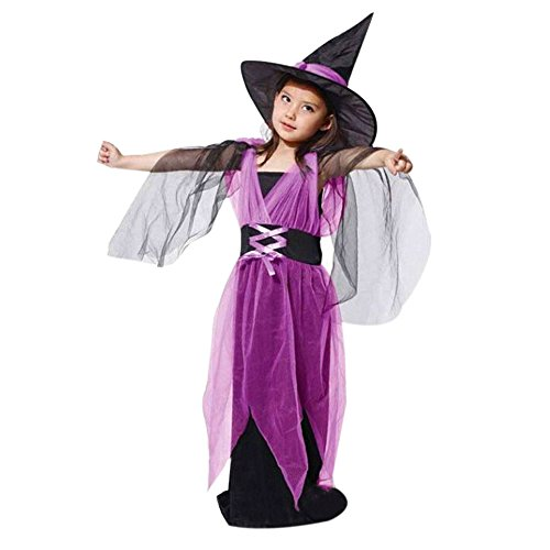kaifongfu Baby Girls Halloween Clothes, Toddler Kids Costume Dress Party Dresses+Hat Outfit (6-7T(120), Purple Long)]()