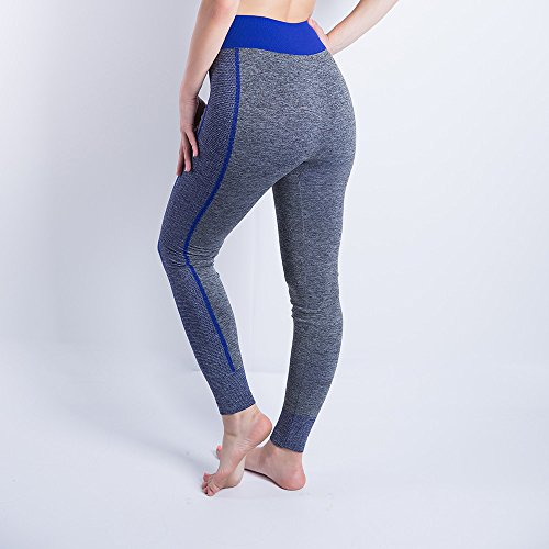iLUGU Women Gym Yoga Patchwork Sports Running Fitness Leggings Pants Athletic Trouser(S,Blue-12) by iLUGU (Image #1)