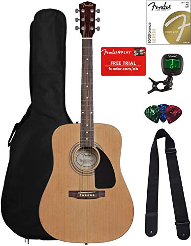 Fender FA-100 Dreadnought Acoustic Guitar - Natural Bundle with Gig Bag, Tuner, Strings, Strap, and Picks ()