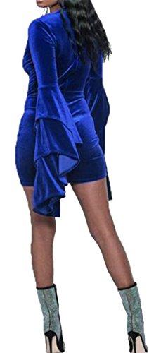 Bodycon V Blu Womens Mini Piccola Scollo Velluto Manicotto Del A Abito Cromoncent Solido Chiarore Colore qfYFvwBf