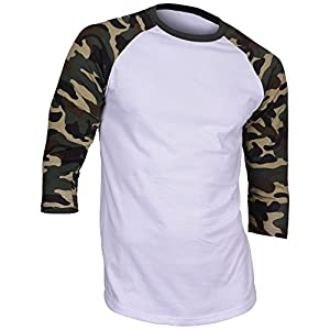 Dream USA Men's Casual 3/4 Sleeve Baseball Tshirt Raglan Jersey Shirt