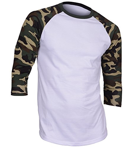 DREAM USA Men's Casual 3/4 Sleeve Baseball Tshirt Raglan Jersey Shirt Dark Camo XL