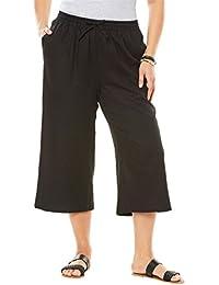Women's Plus Size Drawstring Linen Culottes