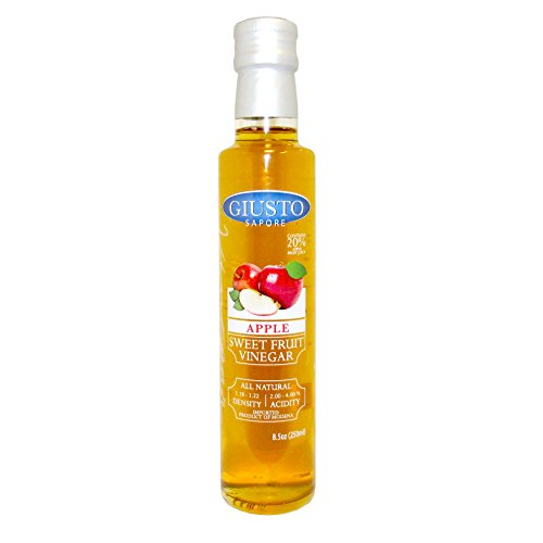 Giusto Sapore Apple Sweet Fruit Italian Vinegar 8.5oz - Premium All Natural Infused Gluten Free Gourmet Brand - Imported from Italy and Family Owned Apple Italian Wine