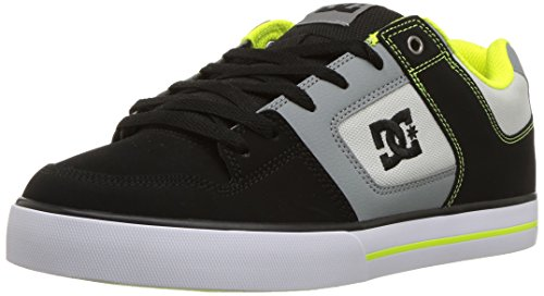 Medium Green Leather Footwear - DC Men's Pure Action Skate Shoe, Grey/Lime Green, 11.5D D US