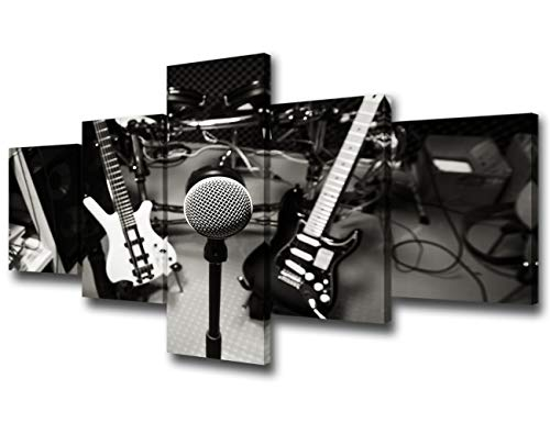 (Black and White DJ Music Studio Wall Art Rock Band Canvas Prints Home Decor Decals for Living Room Bedroom Modern Still Life Pictures 5 Panel Posters HD Painting Framed Ready to Hang - 50