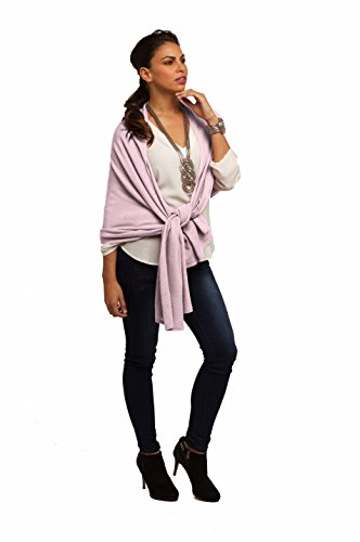 Super Soft Oversized 100% Cashmere Travel Blanket Scarf Wrap - Soft Pink by Anna Kristine