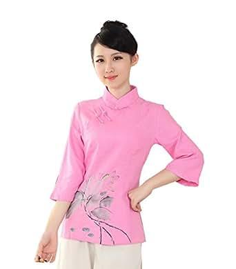 YueLian Mujeres Elehante Manga 3/4 Patrón de Loto Ropa China Saco Blusa de Lino Camisa Camiseta Top Rosa (XL)