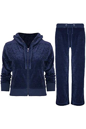 (Womens Ladies Velvet Velour Hoodies Hooded Joggers Loungewear 2PCS Tracksuit Set)