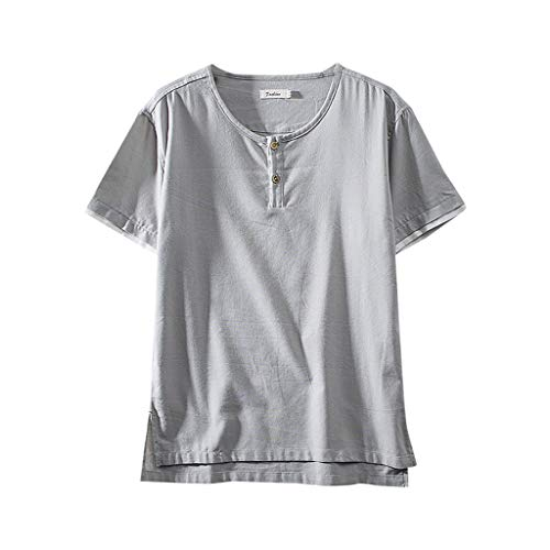 FONMA Fashion Men's Cotton Linen Solid Color Short Sleeve Retro T Shirts Tops Blouse Gray