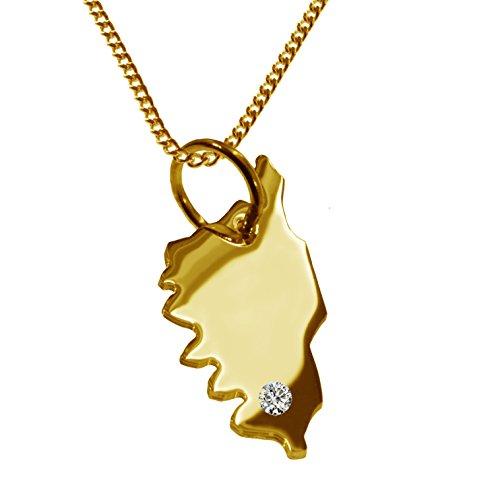 Endroit Exclusif Corse Carte Pendentif avec brillant à votre Désir (Position au choix.)-avec Chaîne-massif Or jaune de 585or, artisanat Allemande-585de bijoux