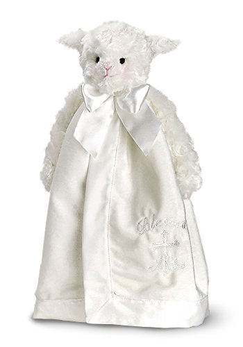 Bearington Baby Blessings Snuggler, White Lamb Plush Stuffed Animal Christening Security Blanket, Lovey -