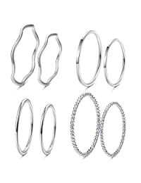Thunaraz 8Pcs Stainless Steel Women's Plain Band Knuckle Stacking Midi Rings Comfort Fit Silver/Gold/Rose Tone