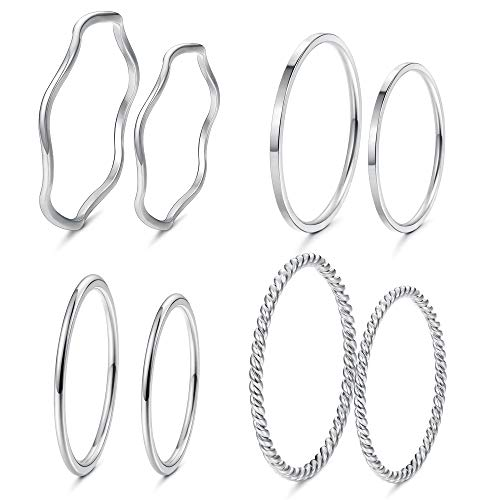 LOYALLOOK 8-14Pcs 1mm Stainless Steel Women's Plain Band Knuckle Stacking Midi Rings Comfort Fit Silver/Gold/Rose Tone