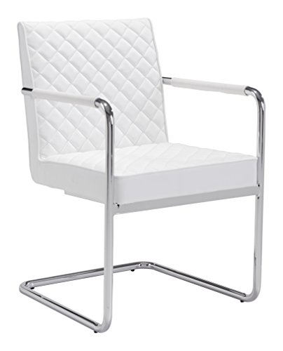 Zuo Modern 100190 Quilt Dining Chair (Set of 2), White, Sleek Modern Canter Leaver Design, Soft Leatherette Featuring Quilted Detailed Upholstery to Both Plush Seat and Back Design