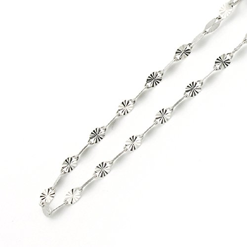 """14K Gold 2mm Italian Diamond Cut Dual Pave Mirro Chain Necklaces ( Available Length 16"""", 18"""", 20"""") - 18"""""""