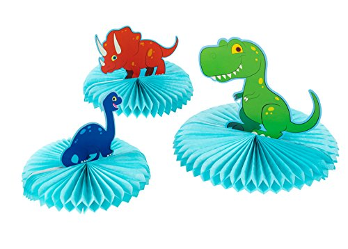 Dinosaur Party Decoration - 3-Piece Dinosaur Honeycomb Decoration Centerpiece, Kids Birthday Party Supplies for Boys, T-Rex, Triceratops, and Brachiosaurus - Birthday Party Honeycomb