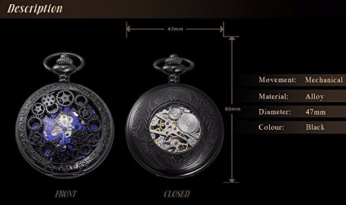 LYMFHCH Steampunk Blue Hands Scale Mechanical Skeleton Pocket Watch with Chain As Xmas Fathers Day Gift by LYMFHCH (Image #5)