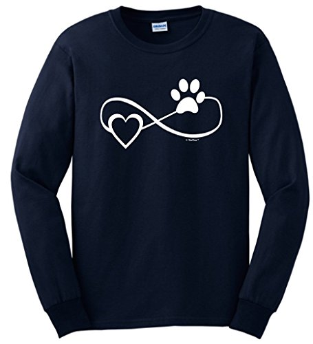 Dog Cat Lover Gift Infinite Love Infinity Symbol Long Sleeve T-Shirt 2XL Navy