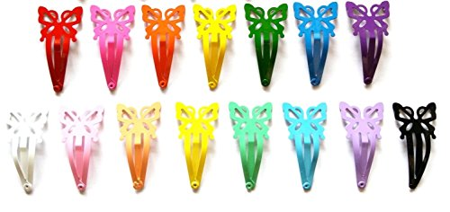 24 Pcs Butterfly Hair Snap Clip Size 40mm