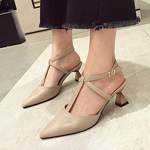 Stiletto 37 Pointed Shoes White Spring Yukun High Shoes Fashion Female Heels Patent Shoes Buckle Belt Leather Yellow heels Khaki 8RFap80P