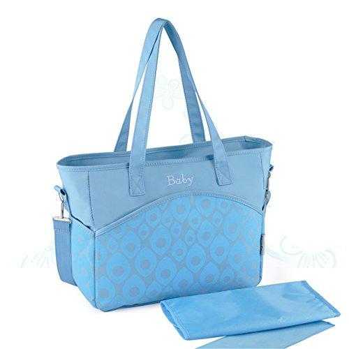 Kangming impermeable gran capacidad bebé pañal bolsa de pañales Mummy bolso de mano asa superior azul azul azul