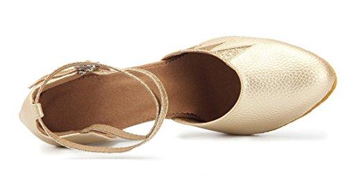 Tda Kvinna Klassiska Stängd Tå Glitter Läder Salsa Tango Samba Rumba Modern Latinska Dans Bröllop Skor Guld 8cm Klack