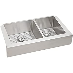 Elkay ECTRUF32179RDBG Crosstown 60/40 Double Bowl Apron Front Stainless  Steel Kitchen Sink Kit