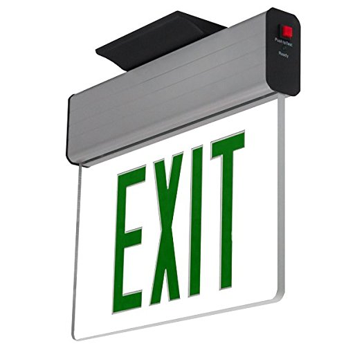 LFI Lights - UL Certified - Hardwired Green LED Surface Mount Edge Light - Battery Backup Exit Sign - ELSMG