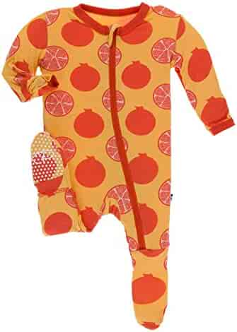 b0c25fd00 KicKee Pants Print Footie with Zipper in Marigold Pomegranate, 3-6 Months