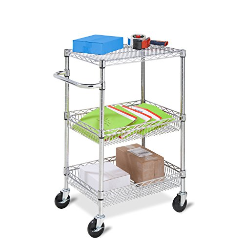 Wire Cart Open (Honey-Can-Do CRT-01451 Heavy Duty Rolling Utility Cart, Chrome Wire, 3-Tier)